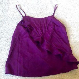 J. Crew purple camisole with ruffle. Like new